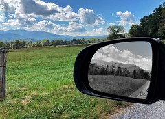 Monochrome Mirror (RansomedNBlood) Tags: mirror reflection selectivecolor cadescove tn tennessee fence smokymountains
