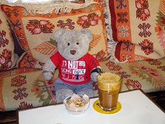 Frappe time! (pefkosmad) Tags: tedricstudmuffin teddy ted bear animal toy cute cuddly fluffy plush soft stuffed pefkos pefki pefkoi rhodes rodos holiday vacation vacances holibob greece greekislands griechenland dodecanese