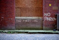 NO PARKING (sean_cooke90) Tags: scotland glasgow street art noparking fuji fujifilm britain greatbritain unitedkingdom uk alley brick fuck anyonereadthesethings