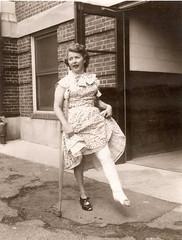 Showing off a vintage cast - appears to be 1940s (jackcast2015) Tags: disabledwoman crippledwoman crutches brokenleg legcast longlegcast handicappedwoman cast disabled