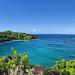 Waianapanapa black sand beach Maui Hawaii Road to Hana pano
