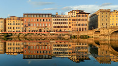 Florence Sunset Reflections (ep_jhu) Tags: bridge arnoriver reflection buildings italy italia google pixel2 firenze florence provinceofflorence it