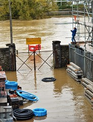 Carmarthen Storm Callum (howell.davies) Tags: storm callum water wet flood flooded flooding builders yard scaffolding carmarthen wales uk nikon d3200 55300mm