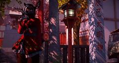 ShrineAtDusk (S76253) Tags: secondlife second life japan sim kyoto afternon shade leaves foliage deer anthro furry lantern