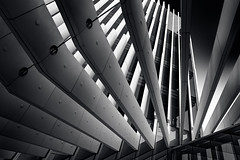Opaque and Mysterious, Transparent and Revealing - EDP headquarters, Lisbon, Portugal (Paulo G. Lúcio) Tags: officetower building tower architecturalfeature architecture detail europe portugal lisbon lisboa touristattraction traveldestination urban blackandwhite monochrome business contemporary design finance imponent modern travel abstract perspective graphics geometricshapes