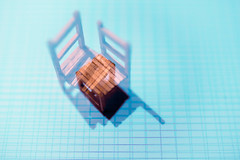 on the bottom of the pool (Lux Obscura) Tags: wooden chairs doubleexposure blue abstract lines shadows dof minichair matches