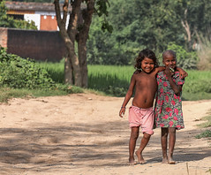 That's what friends are for (ybiberman) Tags: varanasi india utterpradesh village children girls friends hug people streetphotography candid barefoot smile halfnaked