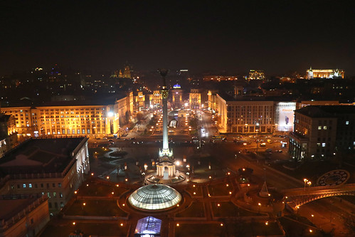 Maidan Square at night, Kiev. Ukraine