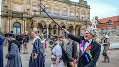 YMPST waggon play performance, King's Manor, 16 September 2018 - 03 (nican45) Tags: yorkmysteryplays2018 16september2018 16092018 18135 18135mm 2018 csc exhibitionsquare fuji fujifilm mysteryplays nickansell september supporterstrust theharrowingofhell xt2 xf18135mmf3556rlmoiswr ymp ympst york yorkshire cast costumes mirrorless performance photographer photography waggonplay