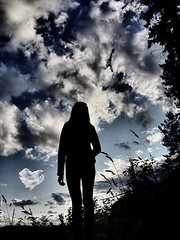the Clouds, (twistling) Tags: heart woods forest grass trees girl woman sky clouds