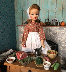 1. Preparing dinner (Foxy Belle) Tags: kitchen hearth miniature old fashioned doll dollhouse 19th century new england food 16 scale scene playscale tammy ideal bonnet apron dress long fireplace