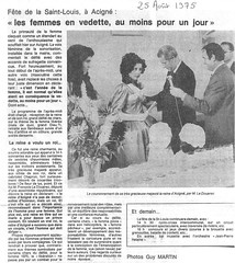 1975: Fête de la Saint-Louis: les femmes en vedette, au moins pour un jour !
