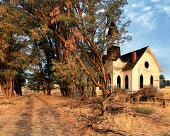 Abandoned Methodist Church, Grass Valley, OR (4 Corners Photo) Tags: 4cornersphoto abandoned architecture autumn building church clouds color driveway fall grassvalley methodist morning northamerica oregon outdoor road rural shermancounty sky steeple structure sunrise tree unitedstates vintage window wood us