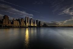 Evening falls on Upper Westside (MarkWaidson) Tags: hudsonriver upperwestside newyork manhattan sunset reflections moon clouds le