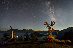 Crater Lake at Night (Jeffrey Sullivan) Tags: crater lake national park oregon usa landscape nature travel photography canon eos 5d mark iv photo copyright 2018 jeff sullivan september road trip smoke layers tree night milky way astrophotography