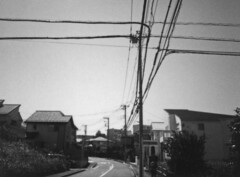 Power and data cables (odeleapple) Tags: leica sofort fujifilm instax monochrome analog bw cable residence house road pole