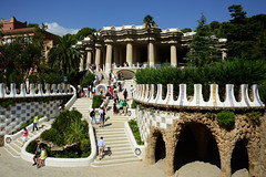 parc Guell (moniq84) Tags: parc park guell gaudi antoni barcelona barcellona colors people nature green sun sunny spain palaces buildings art trees
