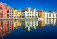 Art Nouveau Reflections (alnesleif2) Tags: arch bridge steeple castle moat canal famous place landmark fountain old town river norway aalesund reflections early morning art nouveau colors architecture