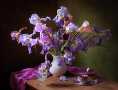 Still life with a bouquet of irises (Tatyana Skorokhod) Tags: stilllife bouquet irises jug decor flowers