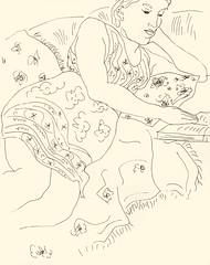 Reading 20181020 3 (danielborisheifetz) Tags: art drawing pen ink female reading
