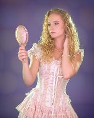 Lacy Fairy Tale Mirror 1359 D (jim.choate59) Tags: jchoate on1pics lacy fairytale mirror corset dress handmirror fantasy makebelieve portrait woman feminine