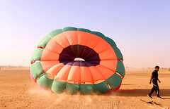 Paragliding (irrfanazam) Tags: paragliding takingoff adventure sky desert aglide colorful fly freedom fun glide peak people wind wing para activity air field energy sportman