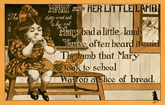 Mary and Her Little Lamb (Alan Mays) Tags: ephemera postcards paper printed nurseryrhymes poems poetry rhymes maryhadalittlelamb children girls mary clothes clothing dresses hairbows bows animals lambs sheep mice mouse blackboards chalkboards classrooms students schoolchildren lunch eating food bread sandwiches parodies puns wordplay humor humorous funny comic amusing punningillustrations illustrations borders antique old vintage typefaces type typography fonts
