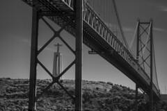 Bridge Of Hope (sdupimages) Tags: noirblanc blackwhite rue street lisboa lisbonne lisbon travel voyage architecture christ statue jesus bw nb monochrome bridge pont composition perspective landscape paysage