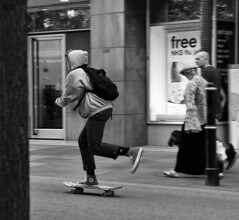 I'm late again (WorcesterBarry) Tags: blackwhite bnw blackandwhite street streetphotography streetphoto candid places people lovebw monochrome england funny fun scateboarding travel towns outdoors youth humour happiness adventure cof038dmnq cof038cher
