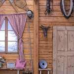 Wooden wall in traditional bavarian style thumbnail