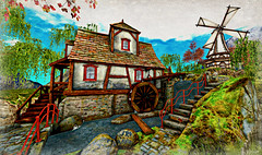 Long Walk Home (Loegan Magic) Tags: secondlife cottage windmill waterwheel water grass stairs sky