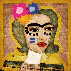 Flowers in her hair, fire in her heart (lorenka campos) Tags: color popart melancholy artdigital portrait modernart art homagetofrida