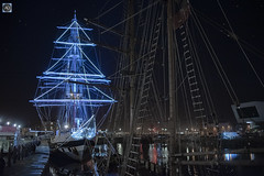 Stavros S Niarchos (alundisleyimages@gmail.com) Tags: stavrossniarchos sailingship tallship winter illumination vessel maritime rigging masts rope berth liverpool city royalalbertdock reflections night longexposure stars wirral merseyside nikon port harbour northwestengland uk