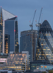 Gherkin and Scalpel... (Aleem Yousaf) Tags: gherkin scalpel cranes construction london morning light office blocks commercial property real estate dawn sunrise reflections city cityscape brookfield miltiples skyline heron tower