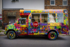 Magic Bus. Windsor, ON. (Paul Thibodeau) Tags: photooftheday windsor fujifilmx100f bus painted streetphotography colours