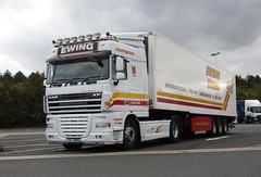 Ewing Bros THZ 3806 (N. Ireland) at Cherwell Valley services (Joshhowells27) Tags: lorry truck daf xf dafxf refrigerated thz3806 ewingbros ireland irish nireland
