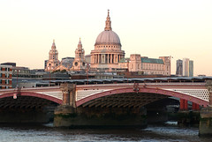 Pink Autumnal October hues on St Paul's Cathedral (surreyblonde) Tags: london uk thames riverthames water river tide buildings architecture history bridges sony a6000 sunset auntumn stpaulscathedral pink blackfriarsbridge londonskyline sirchristopherwren dome