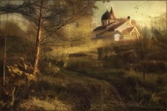 Autumn in Behovo.(Polenovo) (odinvadim) Tags: iphoneart landscape iphoneonly iphonex iphoneography specialist church mytravelgram autumn painterlymobileart old iphone snapseed evening artist travel oldhouse textured editmaster forest textures
