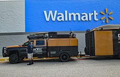 Waiting To Set Up. (dccradio) Tags: lumberton nc northcarolina robesoncounty outdoor outdoors outside walmart store retail bigboxstore duracell powerforward hurricaneflorence florence september earlyfall earlyautumn latesummer monday mondayafternoon wifi powerstation free batteries duracellbatteries batterystation walmartsign words text transportation vehicle trailer boat ready relief restore truck duracelltruck canon powershot a3400is