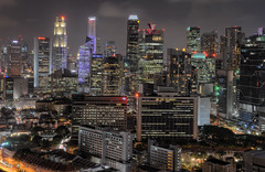 A Pinnacle Skyline (henriksundholm.com) Tags: city urban cityscape skyline buildings skyscraper night shadows hdr downtown thepinnacleduxton towers singapore southeast asia