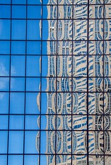 Reflected City (Karen_Chappell) Tags: building architecture abstract reflection reflections glass windows chicago travel usa illinois city urban blue distortions grid geometry geometric square rectangle