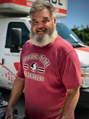 Vendor at Flea Market (LarryJay99 ) Tags: fleamarket lakeworth beards facialhair hairyman hairyarms smile mustache face man manly guy dude oldguy handsome happyguy people male men guys greatbeards