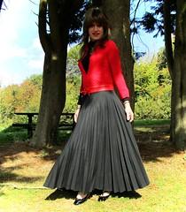 Wooded Garden (Amber :-)) Tags: long black sunray pleated skirt tgirl transvestite crossdressing