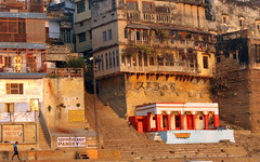 pandey ghat (kexi) Tags: varanasi benares india asia ghats pandeyghat red orange buildings morning steps canon february 2017
