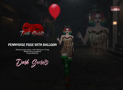 Dark Secrets - Pennywise Bento Pose with Balloon (MsDarkSecret) Tags: darksecrets dark secrets sl secondlife second life halloween pennywise ballon ad virtual avatar pose animation red horror original mesh prop bento materials marketplace inworld it truth moonamore