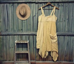 Linen Jumper Dress, Shabby Chic Smock Dress, Lagenlook Country Chic Style, Eco Friendly, Upcycled Clothing for Women by Primitive Fringe by PrimitiveFringe (Primitive Fringe) Tags: upcycled clothing boho shabby chic handmade etsy mori girl