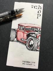 Inktober 2018 - Day 24.  Chop (schunky_monkey) Tags: fountainpen penandink ink pen illustration art drawing draw sketching napkinsketch sketch napkin modify car classiccar hotrod chopped chop inktober2018 inktober