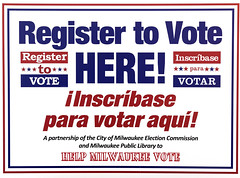Bilingual sign in English and Spanish to register to vote at the Milwaukee Public Library, Wisconsin (thstrand) Tags: 20102019 2018 21stcentury american bilingual cityofmilwaukee communications democracy election electioncommission elections english generalelection government inscribaseparavotar libraries local milwaukee northamerica partnership partnerships politics publiclibrary redwhiteandbluecolors registertovote registering sign signup signingup signs spanish state us usa unitedstates voter voters voting wi wisconsin
