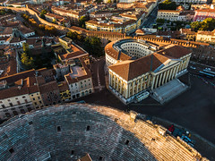 Aerial view of Arena in Verona in historic center in the morning (BriskLad) Tags: city panorama architecture view italy verona cityscape church europe town building skyline travel urban square landscape roof tourism basilica panoramic aerial vatican tower street cathedral drone morning arena historic center birdview piazza bra