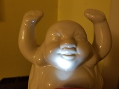 10-7-2018:  Buddha lets it shine on him.  Cambridge, MA